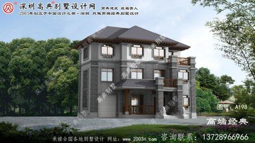 镇江市大气有质感的三层中式别墅设计图