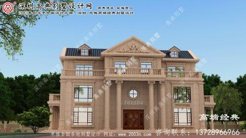 旺苍县欧式石材三层别墅设计图