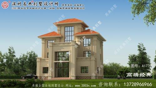 霍城县欧式高档复合别墅设计效果图。