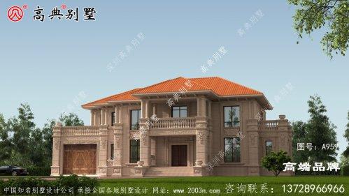 欧式石材两层别墅室外有阳台方便晾晒