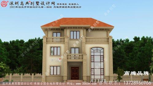 新农村120平米三层洋楼效果图,款式时髦,人见