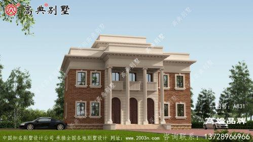 别墅外观以棕色为主,整体大气精致美观